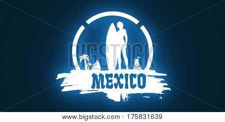 Woman posing with surfboard on grunge brush stroke. Neon light silhouette. Vintage Surfing Graphic and Emblem. Palm and lifeguard tower on backdrop. Mexico text. 3D rendering