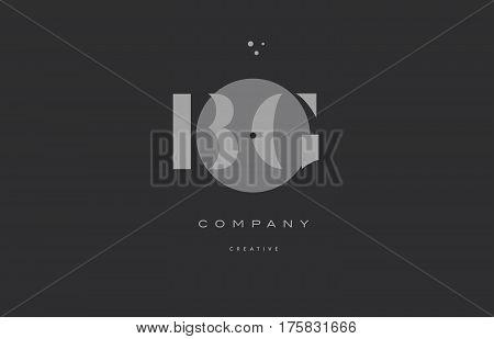 Bg B G  Grey Modern Alphabet Company Letter Logo Icon