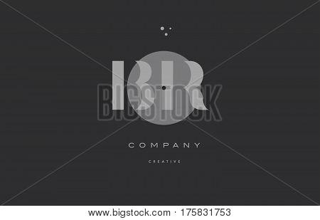Br B R  Grey Modern Alphabet Company Letter Logo Icon