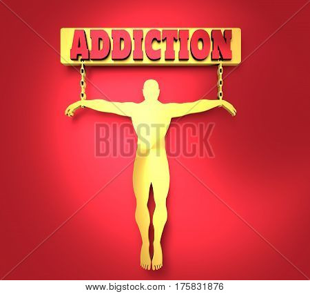 Man chained to addiction word. Unhealth addiction metaphor. . Metallic Material. 3D rendering
