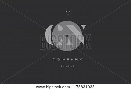 Cn C N  Grey Modern Alphabet Company Letter Logo Icon
