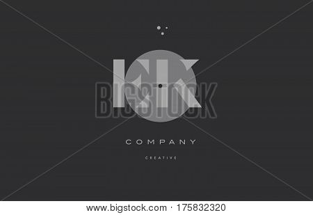 Ek E K  Grey Modern Alphabet Company Letter Logo Icon