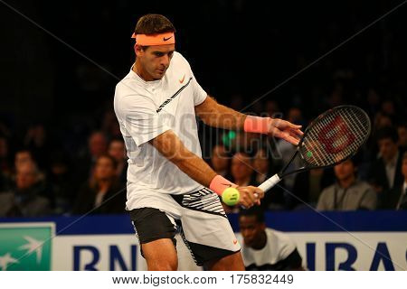 NEW YORK - MARCH 6, 2017: Grand Slam Champion Juan Martin Del Potro of Argentina in action during  BNP Paribas Showdown 10th Anniversary tennis event at Madison Square Garden in New York