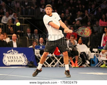 NEW YORK - MARCH 6, 2017: Grand Slam Champion Lleyton Hewitt of Australia in action during  BNP Paribas Showdown 10th Anniversary tennis event at Madison Square Garden in New York