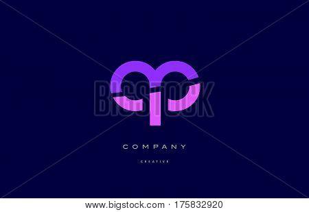 Ap A P  Pink Blue Alphabet Letter Logo Icon