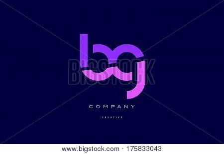 Bg B G  Pink Blue Alphabet Letter Logo Icon