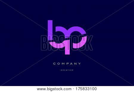 Bp B P  Pink Blue Alphabet Letter Logo Icon