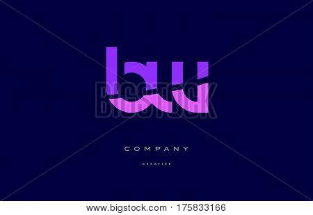 Bw B W  Pink Blue Alphabet Letter Logo Icon