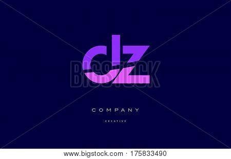 Dz D Z  Pink Blue Alphabet Letter Logo Icon
