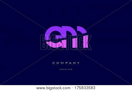 Em E M  Pink Blue Alphabet Letter Logo Icon