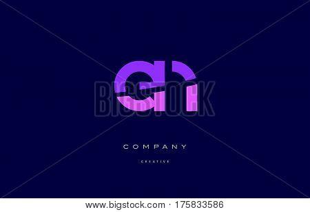 En E N  Pink Blue Alphabet Letter Logo Icon