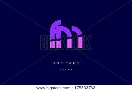 Fm F M  Pink Blue Alphabet Letter Logo Icon