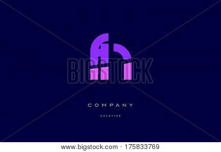 Fn F N  Pink Blue Alphabet Letter Logo Icon