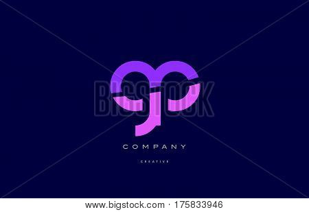 Gp G P  Pink Blue Alphabet Letter Logo Icon