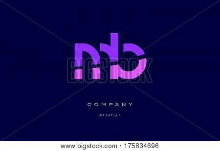 Mb M B  Pink Blue Alphabet Letter Logo Icon