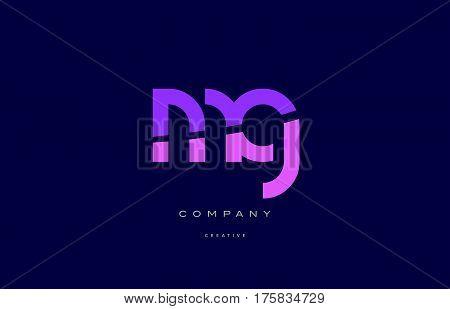 Mg M G  Pink Blue Alphabet Letter Logo Icon