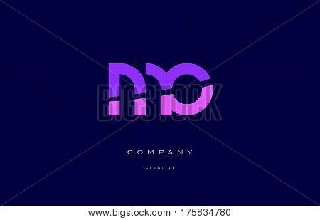 Mo M O  Pink Blue Alphabet Letter Logo Icon