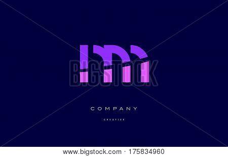Nm N M  Pink Blue Alphabet Letter Logo Icon