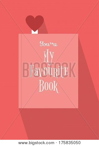 Vector illustration of a closed book with a heart shaped bookmark and a title on the cover