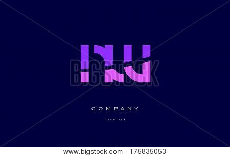 Nw N W  Pink Blue Alphabet Letter Logo Icon