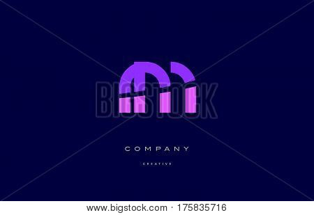 Rm R M  Pink Blue Alphabet Letter Logo Icon