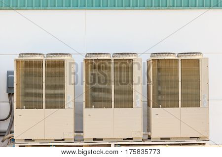 Air conditioning system assembled on side of a building - cooling and heating residential system