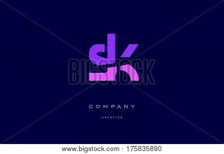 Sk S K  Pink Blue Alphabet Letter Logo Icon