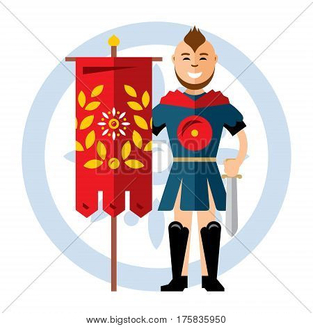 Coat of Arms. The Ancient soldier with the standard. Isolated on a white background