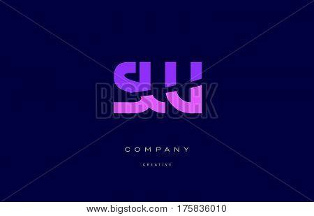 Sw S W  Pink Blue Alphabet Letter Logo Icon