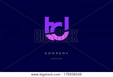 Td T D  Pink Blue Alphabet Letter Logo Icon