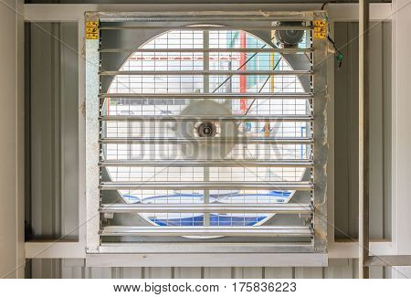 Steel fan on steel structure for industrial ventilation system and air conditioner system of blower room in a new factory building.