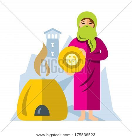 The woman bakes cakes in tandoor. Isolated on a white background