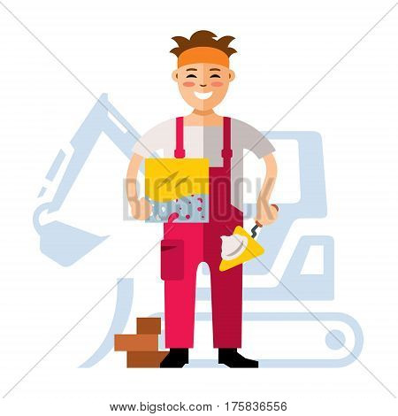 Man with tiles and trowel on a background of the excavator.