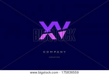 Xv X V  Pink Blue Alphabet Letter Logo Icon