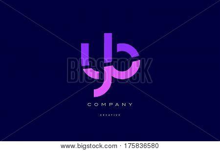 Yb Y B  Pink Blue Alphabet Letter Logo Icon