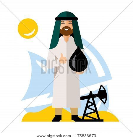 Saudi holds a black drop, against the background of ship and rig. Isolated on a white background