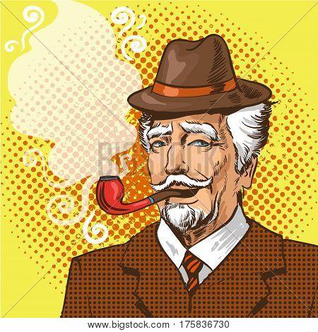 Vector illustration of senior man smoking pipe in retro pop art comic style.