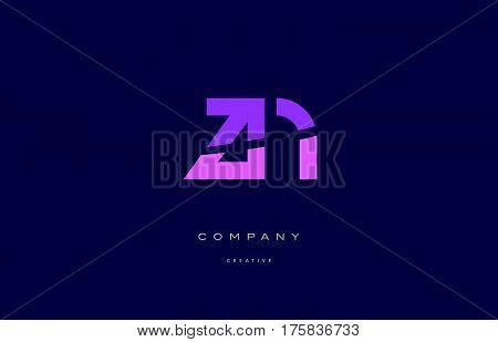 Zn Z N  Pink Blue Alphabet Letter Logo Icon