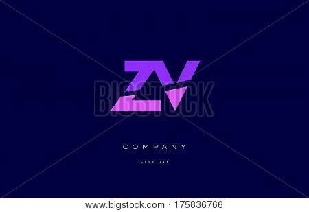 Zv Z V  Pink Blue Alphabet Letter Logo Icon