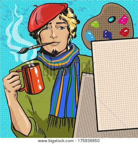 Vector illustration of young handsome man holding a cup of hot tea in his hand and paintbrush in his mouth. Painter wearing red hat and scarf in retro pop art comic style.