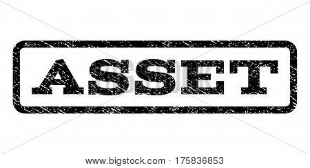 Asset watermark stamp. Text caption inside rounded rectangle frame with grunge design style. Rubber seal stamp with scratched texture. Vector black ink imprint on a white background.