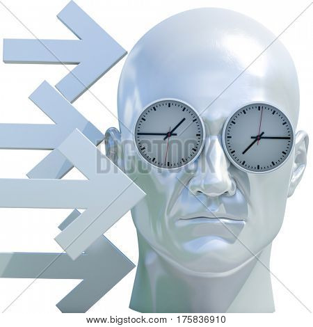 3d Render: Time Concept, Deadline Pressure, Overtime, Time is Running Up