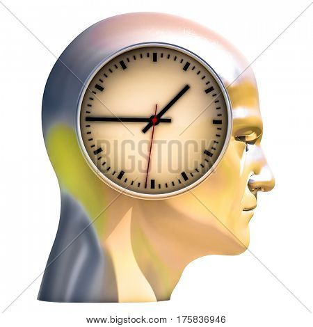 3d Render: Time Concept: Human Head  and Time, Business Punctuality, Appointment Stress