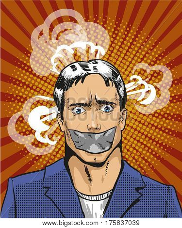 Vector illustration of young man with taped mouth in retro pop art comic style. Person is not able to express his thoughts.