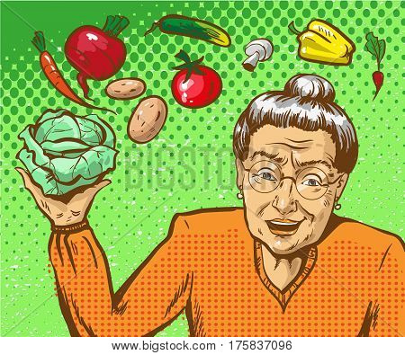 Vector illustration of elderly woman holding a head of cabbage in her hand. Grandmother and vegetables for cooking in retro pop art comic style.