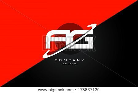 Ag A G  Red Black Technology Alphabet Company Letter Logo Icon