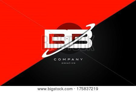 Bb B B  Red Black Technology Alphabet Company Letter Logo Icon