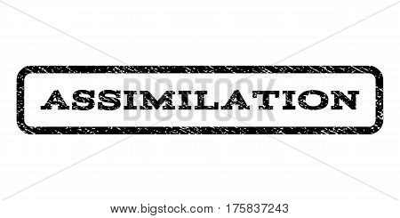 Assimilation watermark stamp. Text tag inside rounded rectangle frame with grunge design style. Rubber seal stamp with scratched texture. Vector black ink imprint on a white background.