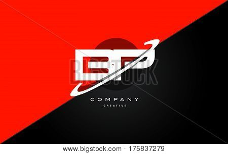 Bp B P  Red Black Technology Alphabet Company Letter Logo Icon