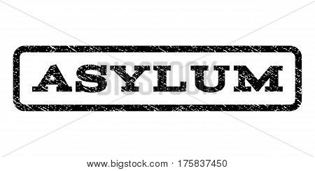 Asylum watermark stamp. Text caption inside rounded rectangle with grunge design style. Rubber seal stamp with dust texture. Vector black ink imprint on a white background.